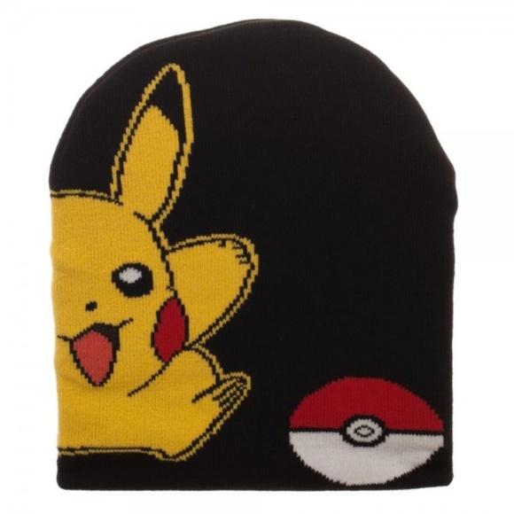 Pokemon Pikachu + Pokeball Slouch Beanie Hat Cap 25b279991805
